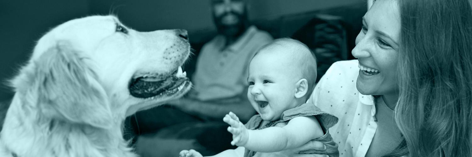 Woman with a baby and a dog